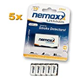 5x Nemaxx Lithium 9V Block Batterie Set für...