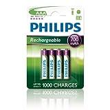 4 x Philips Wiederaufladbare AAA-Akkus, 700 mAh, ideal...