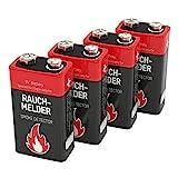 4 ANSMANN Alkaline Rauchmelder Batterien 9V/7 Jahre...