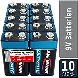 ANSMANN 9V Block Batterien 10 Stück - Alkaline 9 Volt...