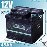 WMTec Starterbatterie 45Ah 12V 400A wartungsfrei inkl....