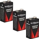3x Kraftmax 9V Block Lithium Hochleistungs- Batterien...