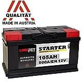 LANGZEIT Autobatterie 12V 105AH ersetzt 88Ah 90Ah 92Ah...