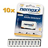10x Nemaxx Lithium 9V Block Batterie Set für...