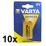 10x VARTA 9V SUPERLIFE Zink-Kohle Batterie 6F22 /...