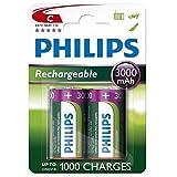 Philips C Size 3000 mAh Rechargeable Batteries x2