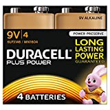 Duracell Plus Power Typ 9V Alkaline Batterien, 4er Pack