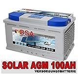 BSA Solarbatterie 12V 100Ah Solar Akku Wohnmobil Boot...