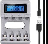 Tycipy Batterie Akku Ladegerät für NI-MH/NI-CD AA/AAA...