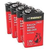 HEITECH Rauchmelder Batterie 9V Block - 4× Alkaline 9V...