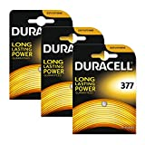3 x Duracell 377 1.5v Silver Oxide Watch Battery...