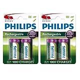 4 x Philips Größe C 3000 mAh wiederaufladbare Ni-MH...