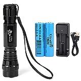 UltraFire 18650 Taktisch Taschenlampe 501B mit 2 Pack...