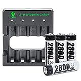 YGJ Batterieladegerät AA inkl. 4X AA Mignon 2800mWh,...