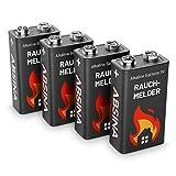 ABSINA Rauchmelder Batterie 9V Block - 4er Pack...