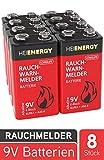 HEITECH Rauchmelder Batterie 9V Block - 8× Alkaline 9V...