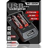kraftmax BC-2000 USB Akku Ladegerät für 18650   26650...