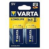 VARTA Longlife 9V Block 6LR61 Batterie (2er Pack)...